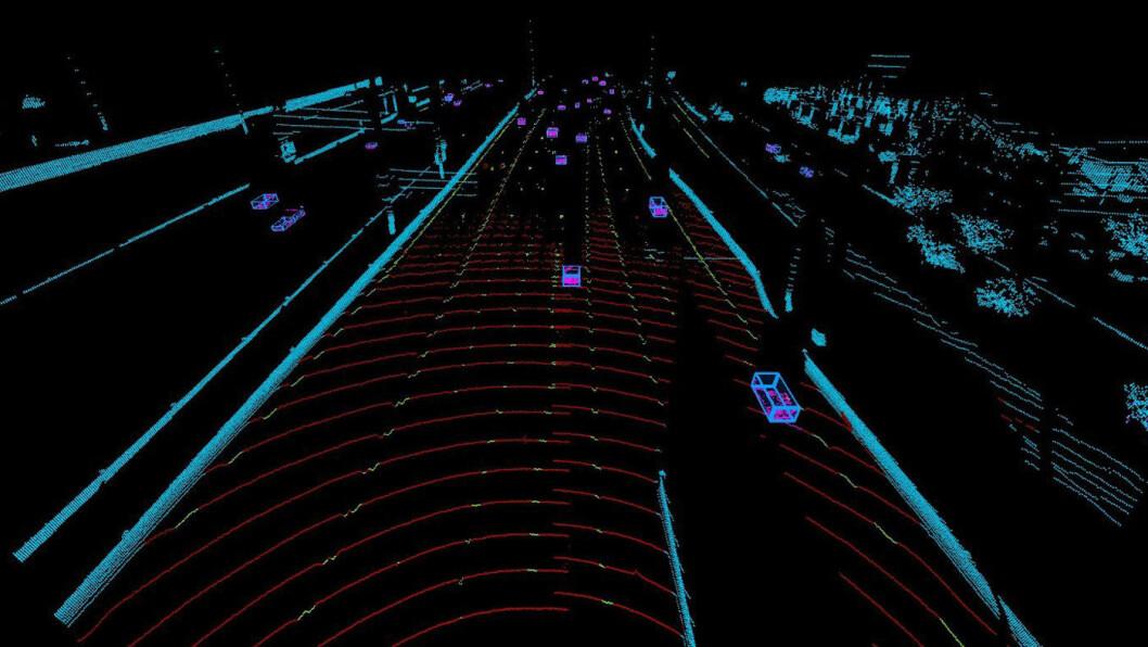LASER-IMPULSER: Laserstrålene fra LiDAR-en treffer objektene rundt bilen og impulsene fôres i sanntid til bilens datasystemer. Foto: Volvo Car