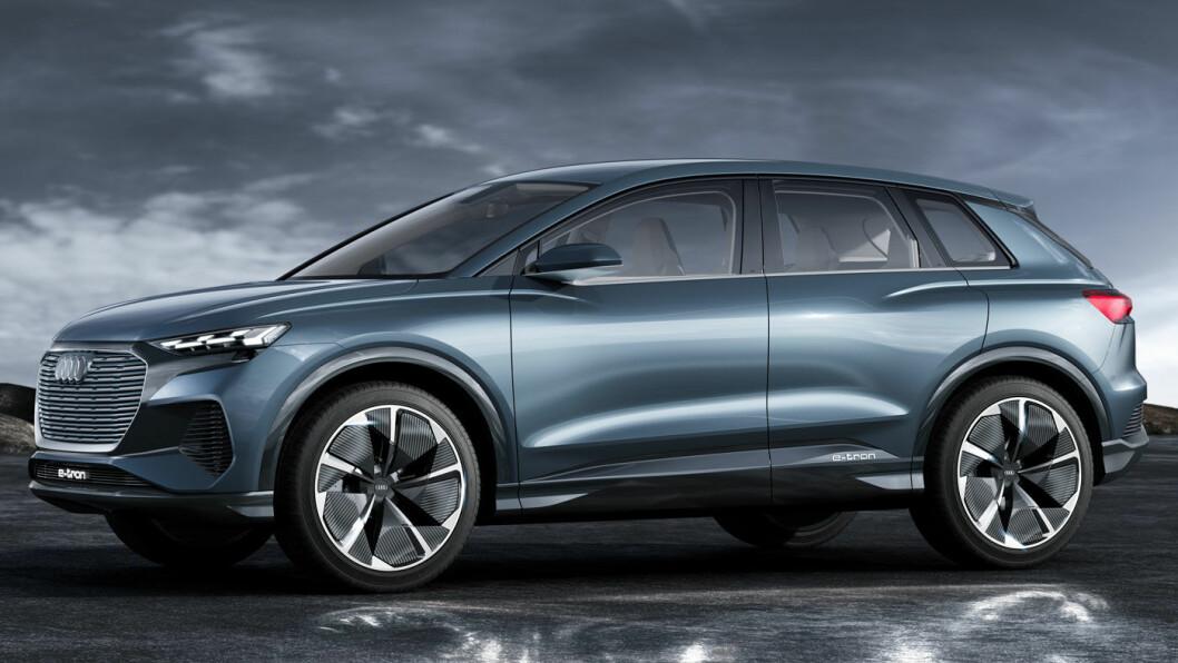 KAN FÅ HYGGELIG PRIS: Slik fremsto Audi Q4 e-tron, merkets neste el-SUV, da den ble forhåndsvist som konseptbil.