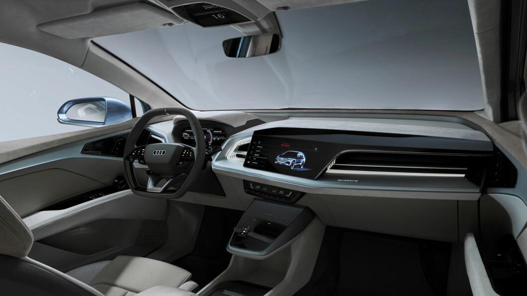 SYNLIG NÆR PRODUKSJONSKLAR: Det er ikke noe utenomjordisk konseptbilaktig i interiøret i konseptbilen Q4 e-tron som ble vist i Genève i fjor.
