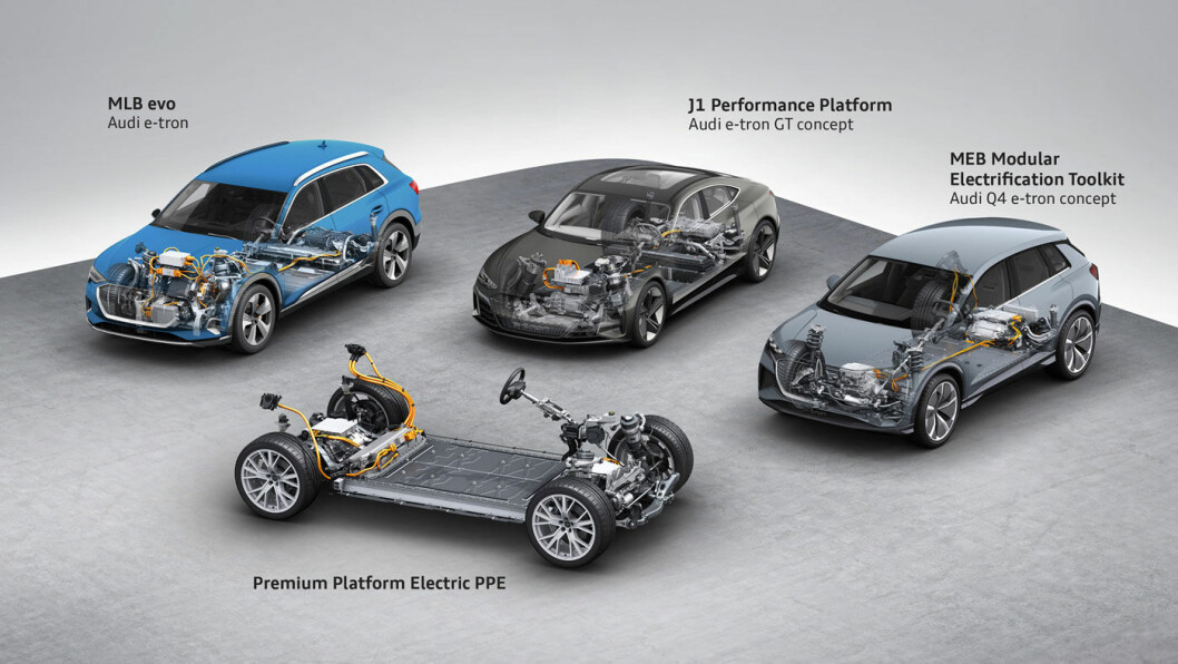 ELBIL-PLATTFORMENE: Dette skjemaet fra Audi viser to av plattformene Porsche vil bruke. J1 Performance benyttes av Taycan og den kommende Audi e-tron GT, mens PPE-plattformen (nærmest), vil være basis for Porsche Macan.