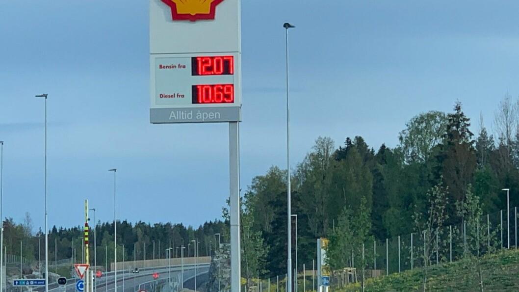 10,69: På nye E18 sør for Porsgrunn. Foto: Geir Olsen
