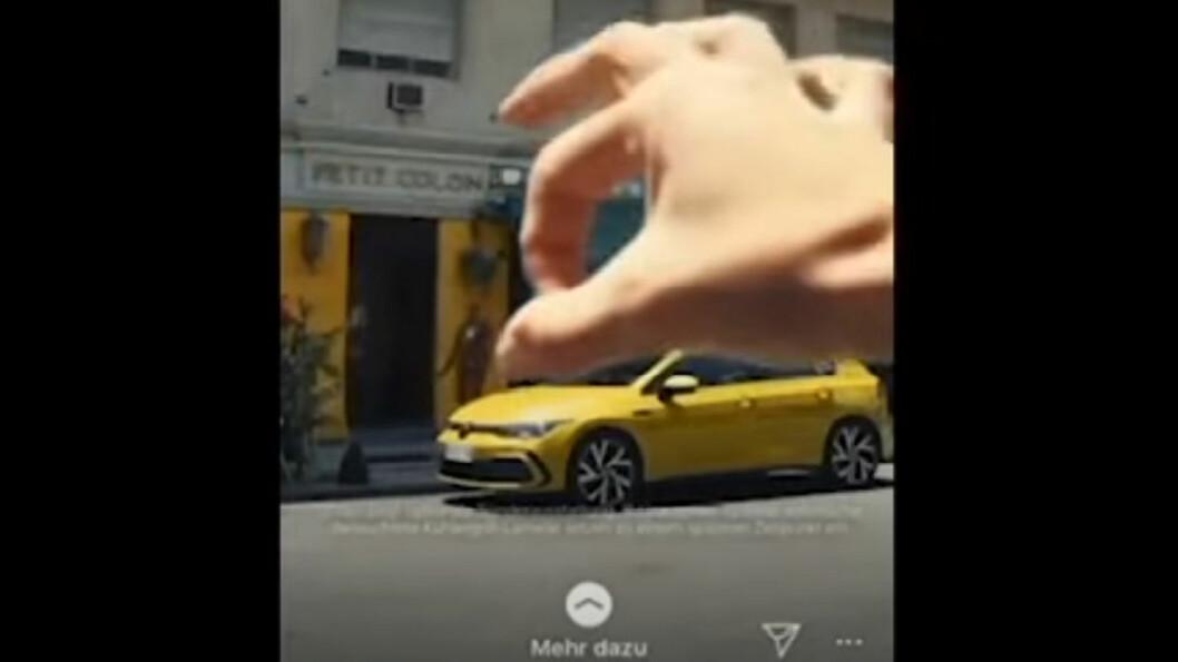 HAR SKAPT BØLGER: Reklamevideoen for VW Golf 8 er rasistisk, innrømmer ledelsen selv. Den ble trukket tilbake, men skaden var skjedd. Foto: Skjermdump av video