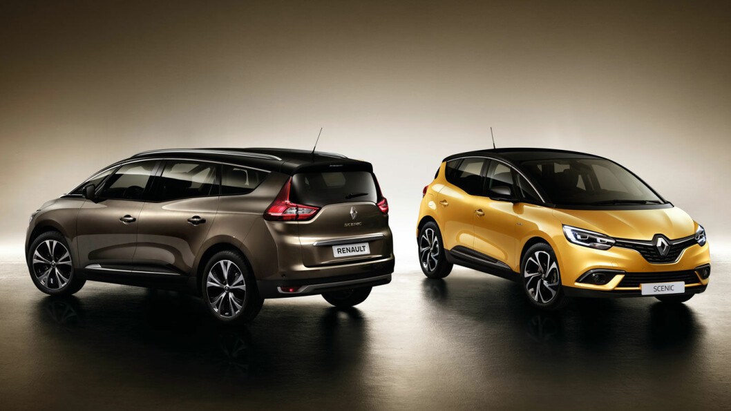 KAN BLI DEN SISTE: Espace har ikke stått på menyen hos den norske Renault-importøren, men det har derimot Scénic, den rimeligere og mer kompakte flerbruksbilen, her i lang og kort versjon. Foto: Renault