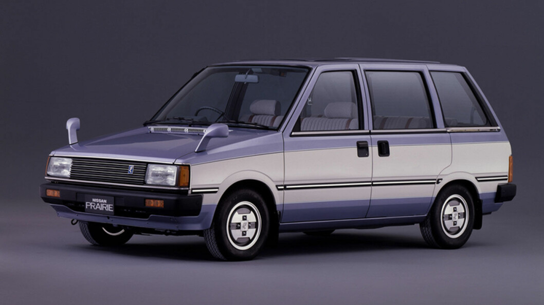 TIDLIGERE: Nissan lanserte smarte Prairie med skyvedører alt i 1982. De var ikke i allianse med Renault den gangen, men inspirerte tydeligvis den franske produsenten til å videreutvikle konseptet flerbruksbil.
