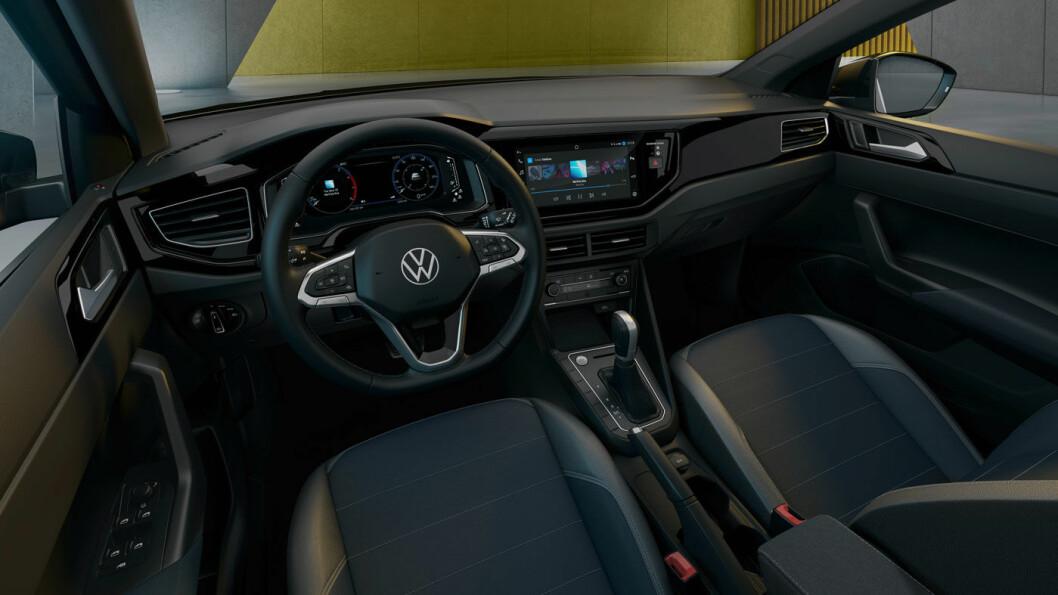 TYPISK VW: Klassisk førermiljø i Nivus, med 10-tommers høyoppløselig skjerm med «virtuelle» knapper.