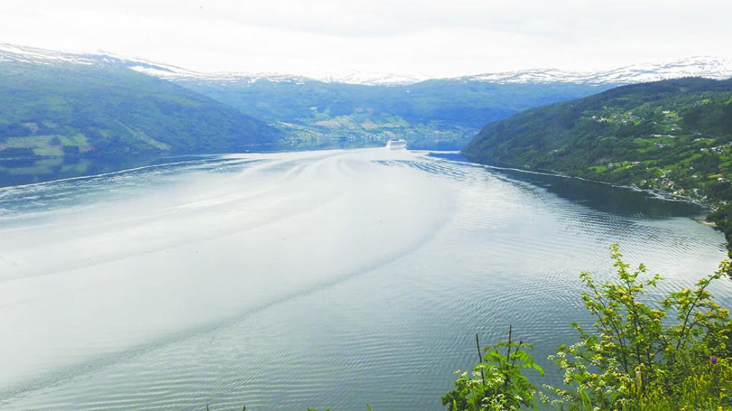 FJORDCRUISE: Nordfjord er 106 kilometer lang og mange cruiseskip tar turen helt inn til enden i Loen. Foto: Per Roger Lauritzen