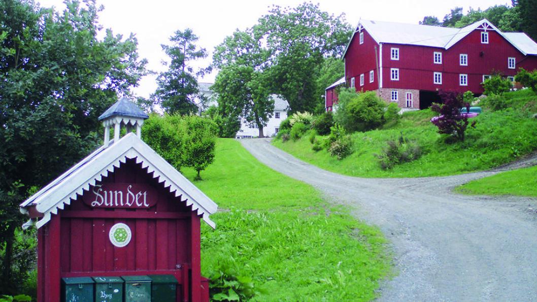 SUNDET GÅRD: Gården fra 1100-tallet drev gjestgiveri og skysstasjon med ferjing over elva Gaula. Foto: Sundet Gård