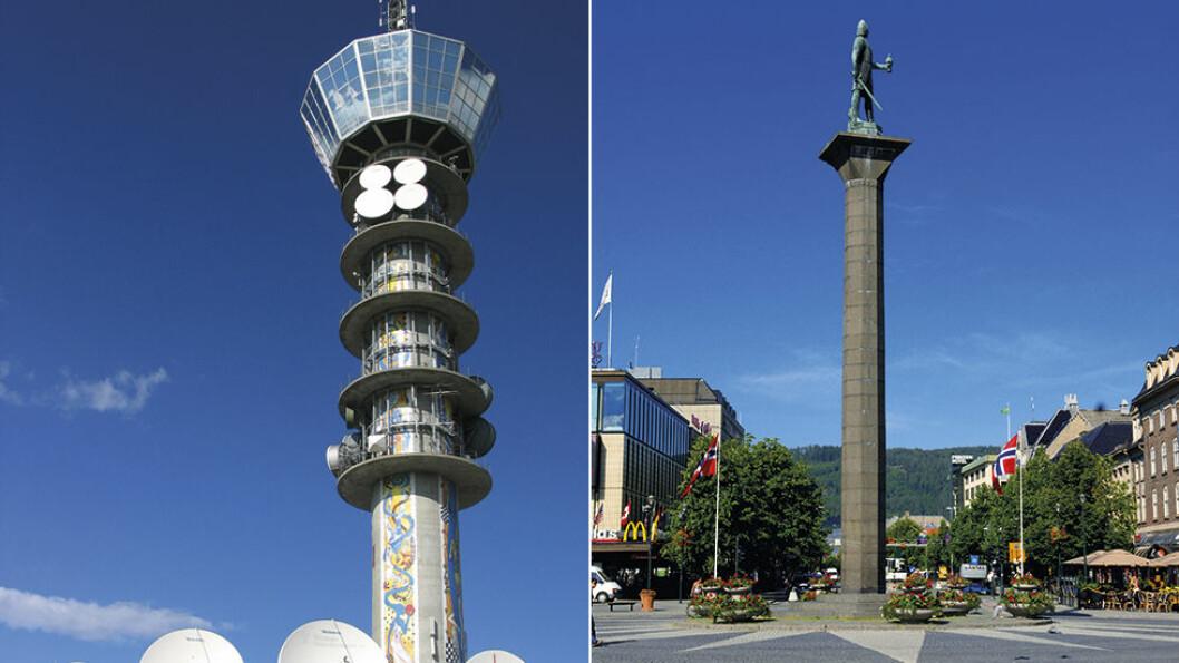 LANDEMERKER: Både TV-tårnet på Tyholt (t.v.) og minnesmerket over Olav Tryggvason på torget i Trondheim, markerer seg i terrenget. Tyholttårnet er 124 meter høyt, og 74 meter over bakken finner du en roterende restaurant. Foto: Wikimedia og Willy Haraldsen