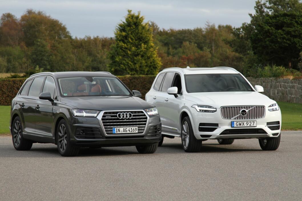 VINNERE: Hybrider og ladbare hybrider som Volvo XC90 T8 og Audi Q7 e-Tron er vinnerne i statsbudsjettet for 2017 med avgiftskutt i 100.000 kroners klassen. Men også andre biler med moderne miljøteknologi blir billigere. Foto: Rune Korsvoll