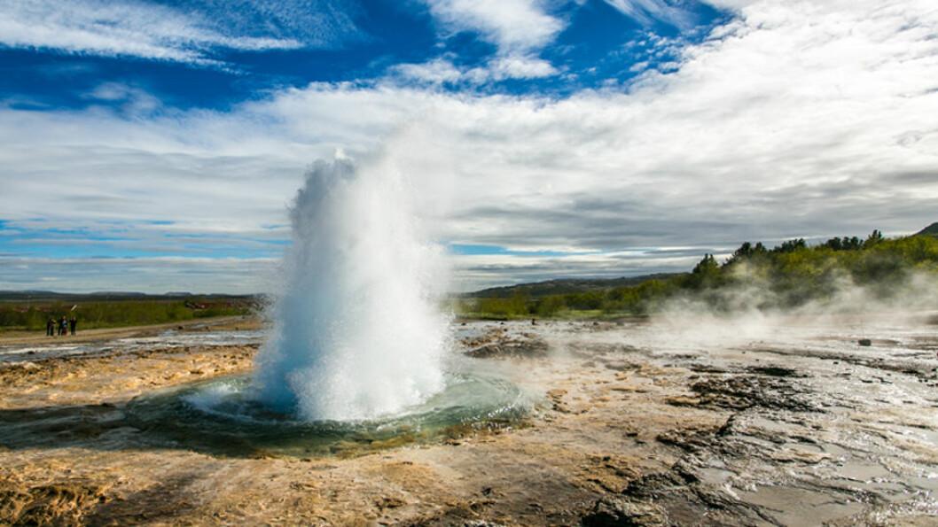 NATURKREFTER: På Island opplever du geysirer som spruter vann flere meter til værs. Foto: Shutterstock