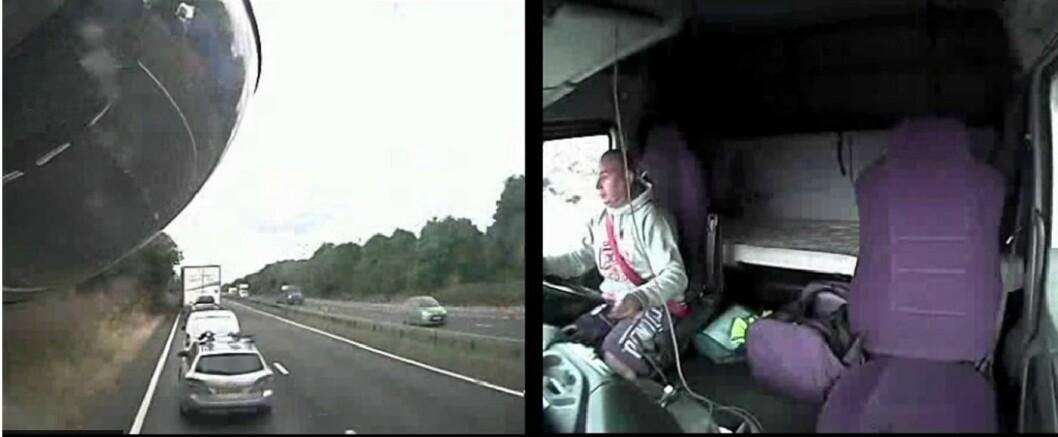 SER ETTER MUSIKK: I en kilometer ser lastebilsjåføren etter musikk på telefonen sin før det smeller og fire blir drept. Foto: BBC