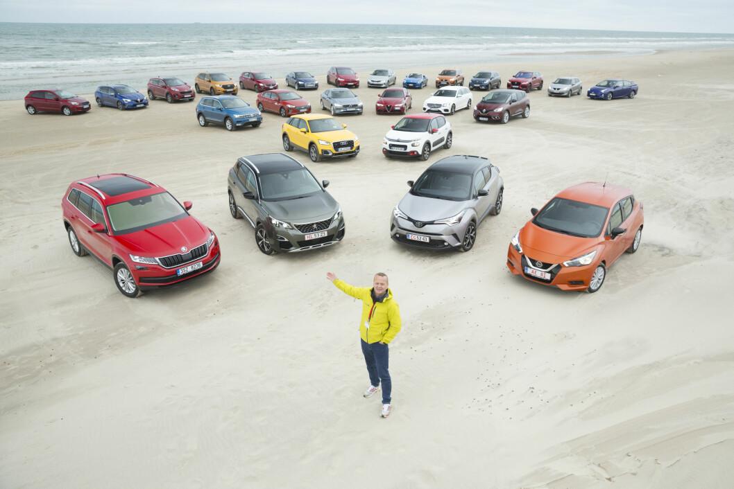 FINALISTER: Car of the Year-kandidatene ble testet i en uke i Danmark i oktober, før de sju finalistene nå er stemt fram. Motors Rune Korsvoll er norsk medlem av den europeiske juryen. Foto: Simon Hamelius