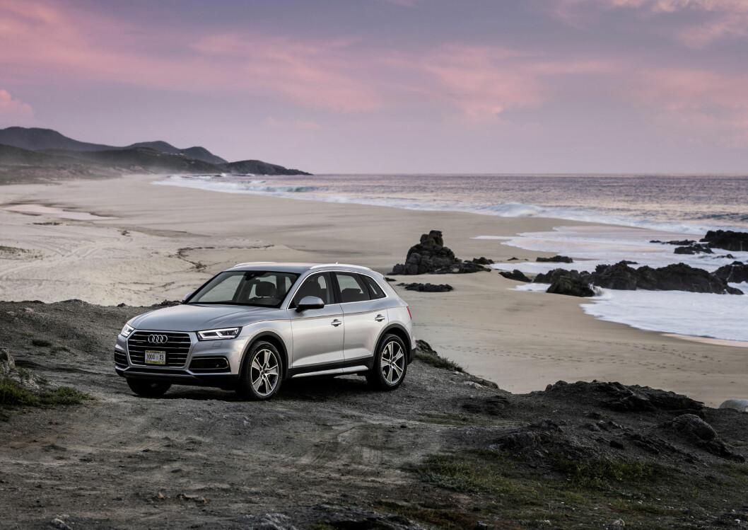 """I NORGE: Nye Audi Q5 kommer i butikkene først til våren, men en """"testbil"""" er på en skryte-runde hos forhandlerne nå før jul. Foto: Audi"""