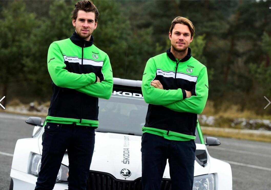 RYKKER NED: Andreas Mikkelsen (t.h.) og kartleser Anders Jæger, skal kjøre en Skoda Fabia i WRC2- klassen i rally Monte Carlo i januar. Foto: Skoda