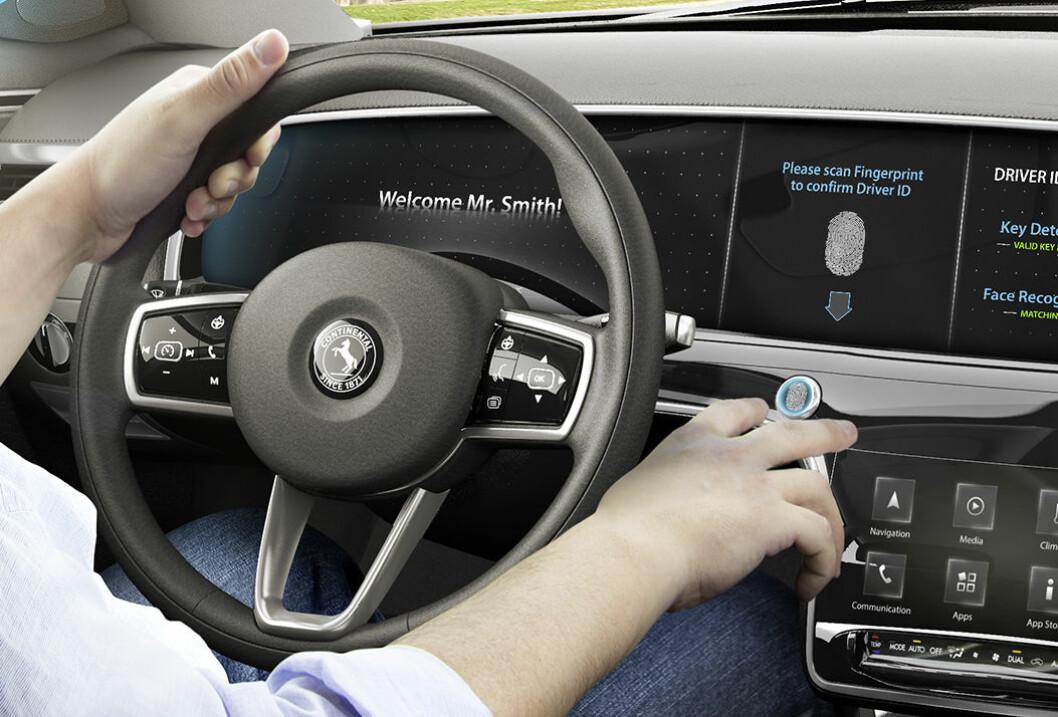 FINGERAVTRYKK: Før bilen vil starte, må den gjenkjenne fingeravtrykket ditt. Med en slik innretning vil man hindre mange dødsfall i trafikken, viser en ny TØI-rapport. Foto: Continental