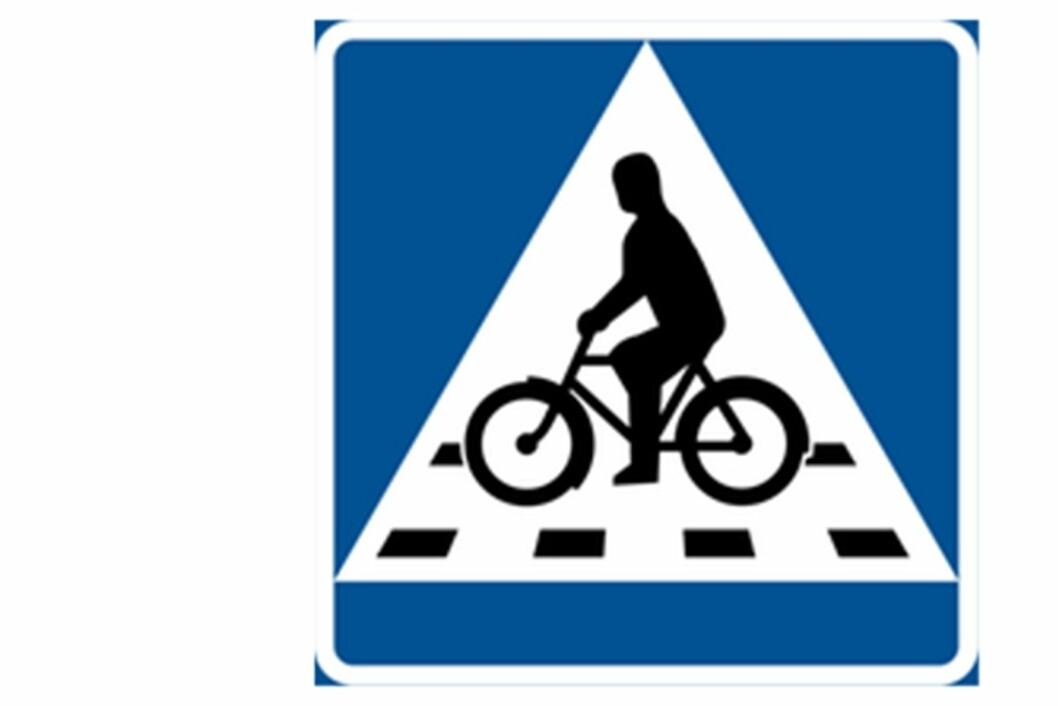 NYTT SKILT: Umeå har introdusert eget skilt for sykkeloverganger.