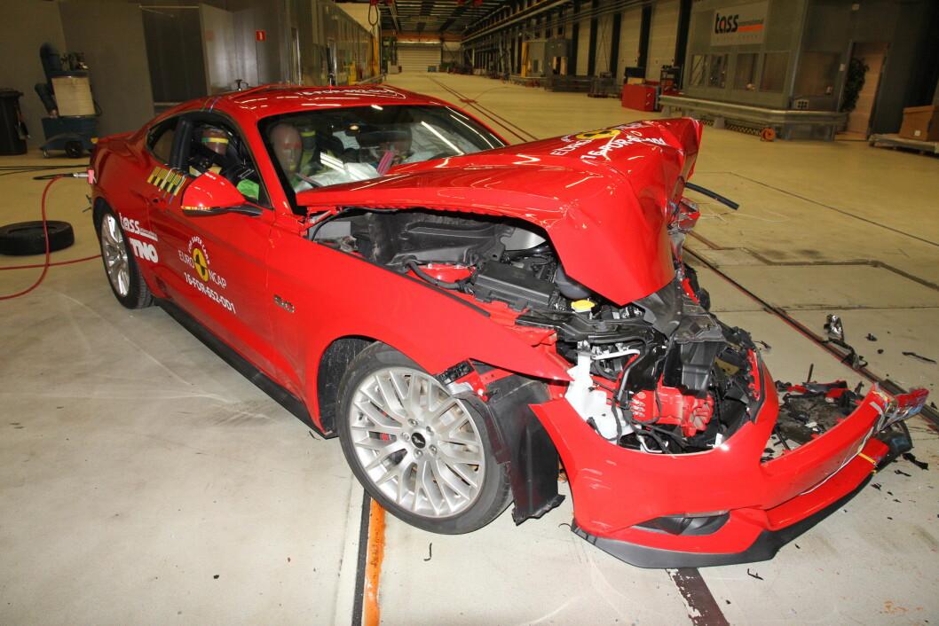 STYGG SAK; Med bare to stjerner i EuroNCAPOs kollisjonstests, er Ford Mustang en av de minst sikre bilene som noen gang er testet. Foto: EuroNCAP