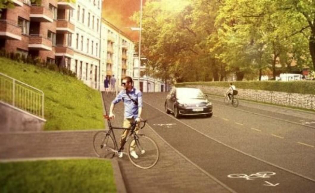 illustrasjon av syklist stående ved sin sykkel på fortau