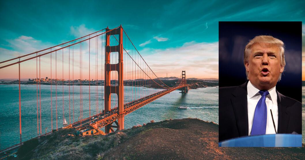 KONFRONTASJON: Hvilke utslipp skal være tillatt for bilene på Golden Gate Bridge, praktsymbolet på transport i California? President Donald Trump er på kollisjonskurs med lokale myndigheter. Foto: Foto: Joseph Barrientos og Gage Skidmore (innfelt)