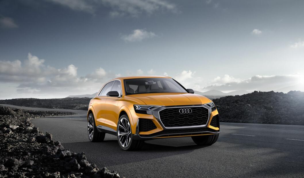 STOR OG STERK: Nye Audi Q8, som kommer til Norge neste år, er større og mer sportslig enn dagens Q7. Foto: Produsenten