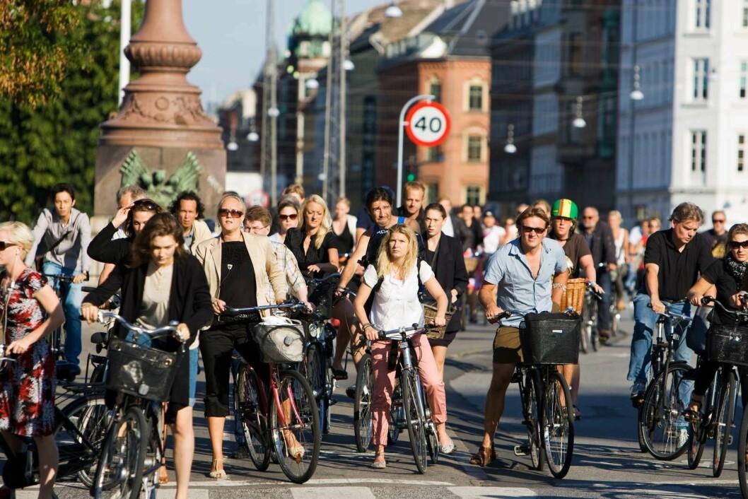 SNART GRØNT: En armada av syklister venter på grønt lys i Nørrebro gade. Foto: Kasper Thye