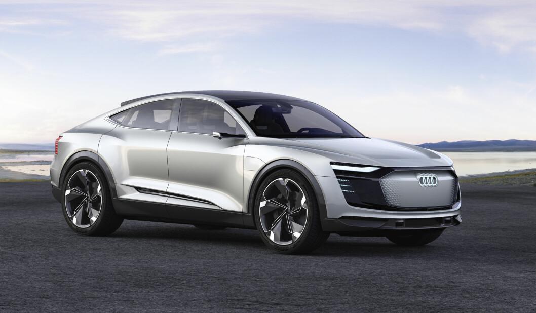 SPORTSLIG: Både design og drivverk har et sporty preg. De tre elektriske motorene yter opp mot 500 hester og gir bilen firehjulstrekk. Foto: Audi