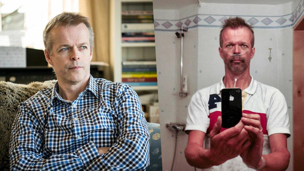NÅ OG DA: Einar Morland har engasjert seg intenst i arbeidet for tunnelsikkerhet etter familiens dramatiske opplevelser i Gudvangatunnelen, til høyre tar han selfie på sykehuset samme dag som brannen skjedde. Foto: Jon Terje H Hansen/Einar Morland