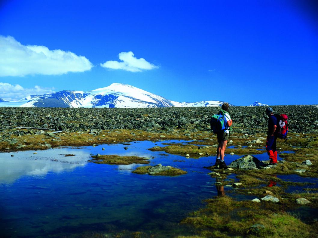 NÆR TOPPEN-OPPLEVELSE: Fra området ved Juvasshytta har du flott utsikt mot Glittertind. Foto: Willy Haraldsen