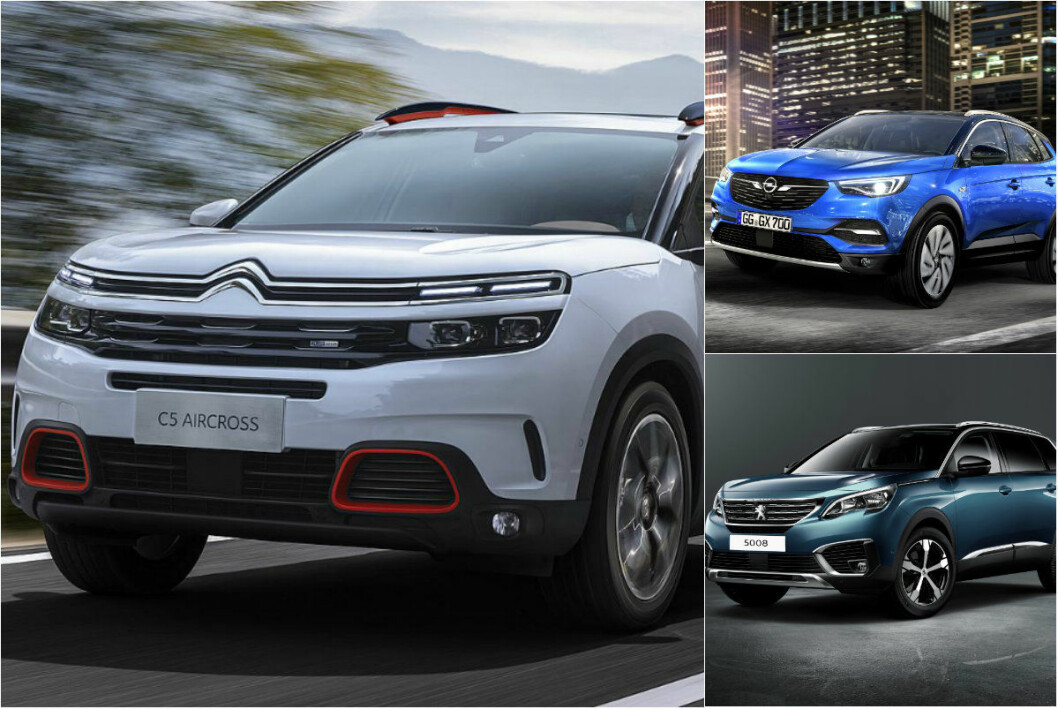 TRILLINGER: Opel Grandland X, Citröen C5 Aircross og Peugeot 3008 er tvillinger, men ganske ulike. Foto: Produsentene