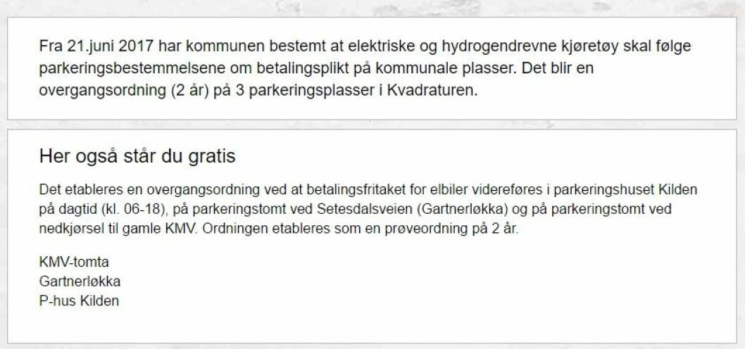 KJENTMANNSPRØVE: Man må være lokalkjent for å forstå hvor elbiler kan parkere gratis i Kristiansand. (Faksimile fra Krostiansand kommunes sider).