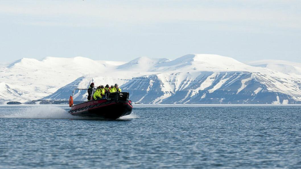 LANGS KYSTEN AV SVALBARD: Vi reiser med rib inn til Isfjord radio, en gang et viktig knutepunkt for kommunikasjon med fastlandet. Foto: Enjoy travel