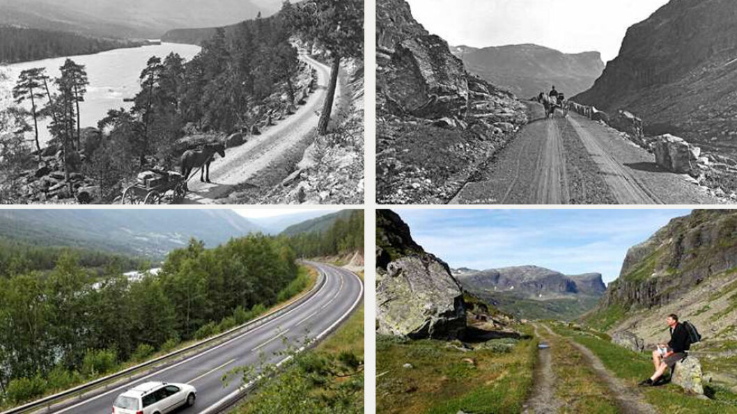 DA OG NÅ: Den svenske fotografen Alex Lindahl tok disse svart-hvitt-bildene i henholdsvis Gudbrandsdalen og på Haukelifjell på siste del av 1880-tallet. Fargebildene viser de samme stedene i dag. Foto: Alex Lindahl og Oscar Puschmann