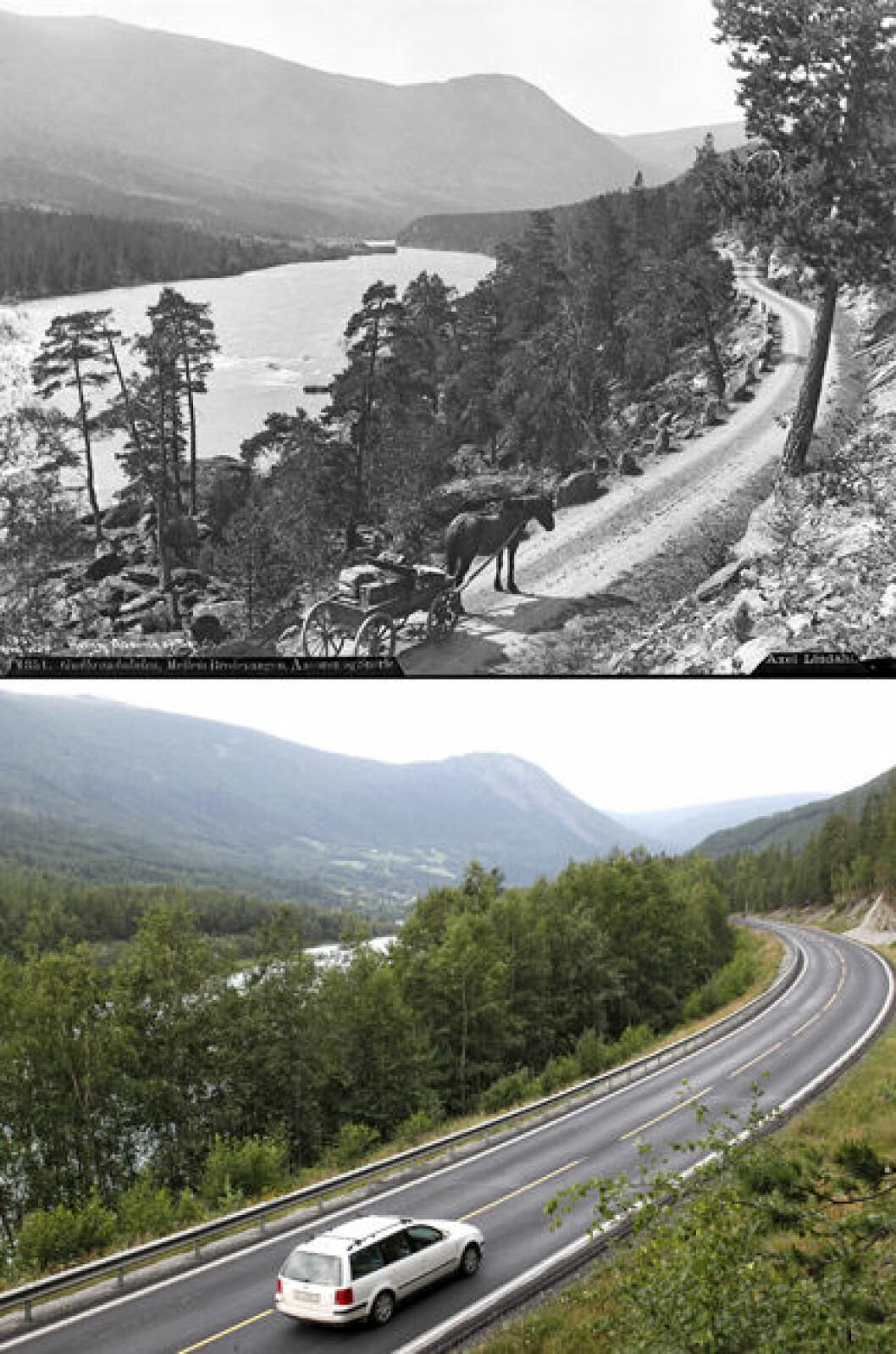1886 og 2014: Fra Gudbrandsdalen mellom Bredevangen og Vågå i Oppland. Foto: Axel Lindahl/Oscar Puschmann