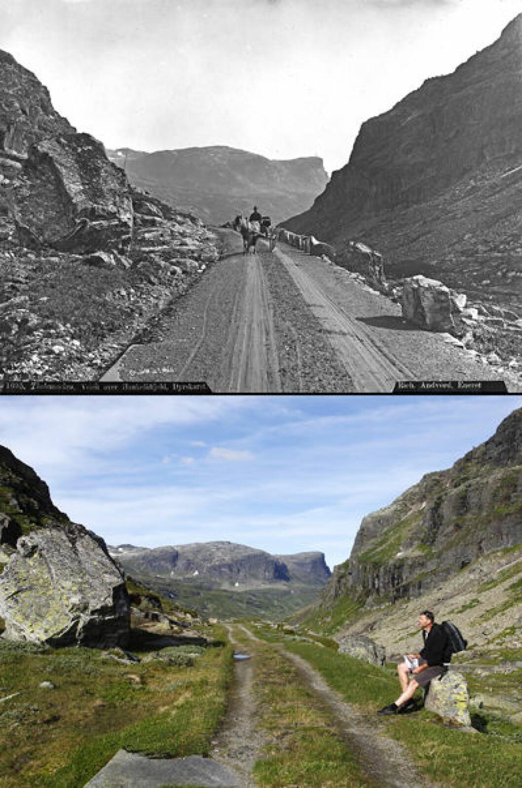 1887 og 2011: Fra Dyrskard, mellom Haukelifjell og Odda. Foto: Axel Lindahl/Oscar Puschmann