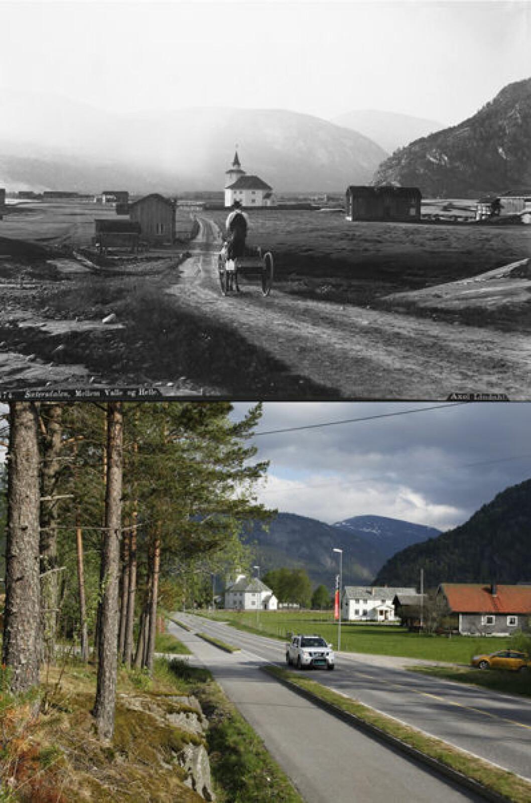1888 og 2013: Fra Rysstad i Setesdal, Valle i Aust-Agder. Foto: Axel Lindahl/Oscar Puschmann
