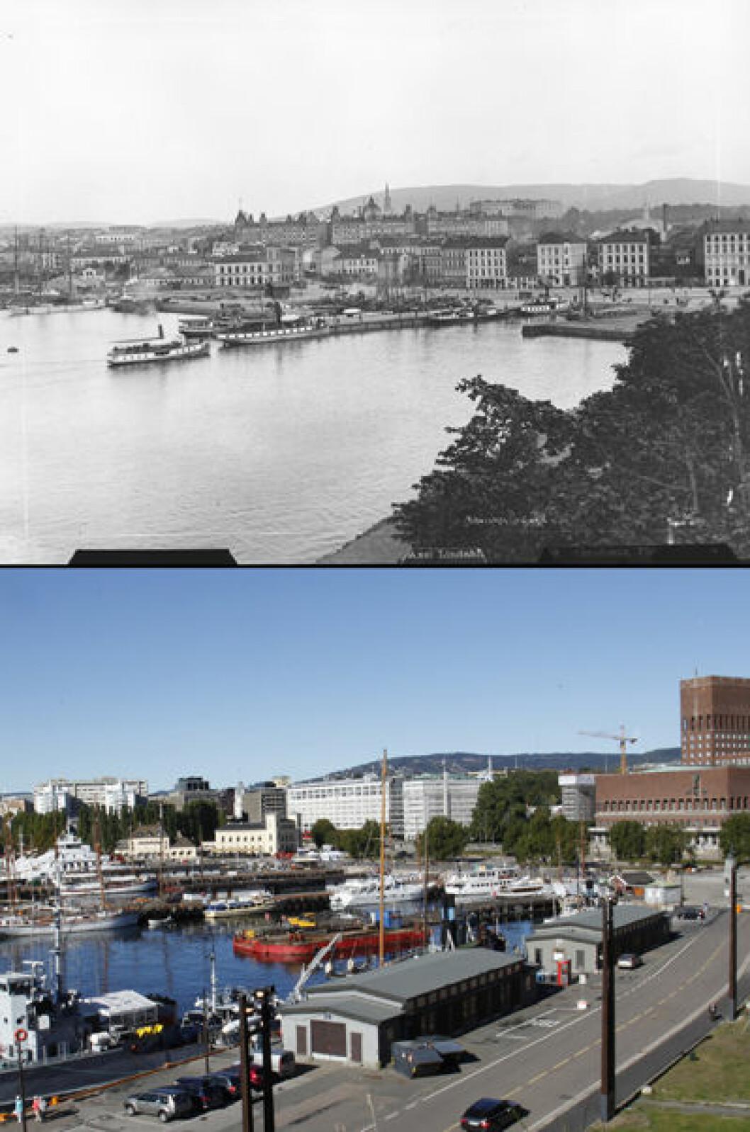 Ca. 1888 og 2013: Pipervika og Rådhuskaia i Oslo. Foto: Axel Lindahl/Oscar Puschmann