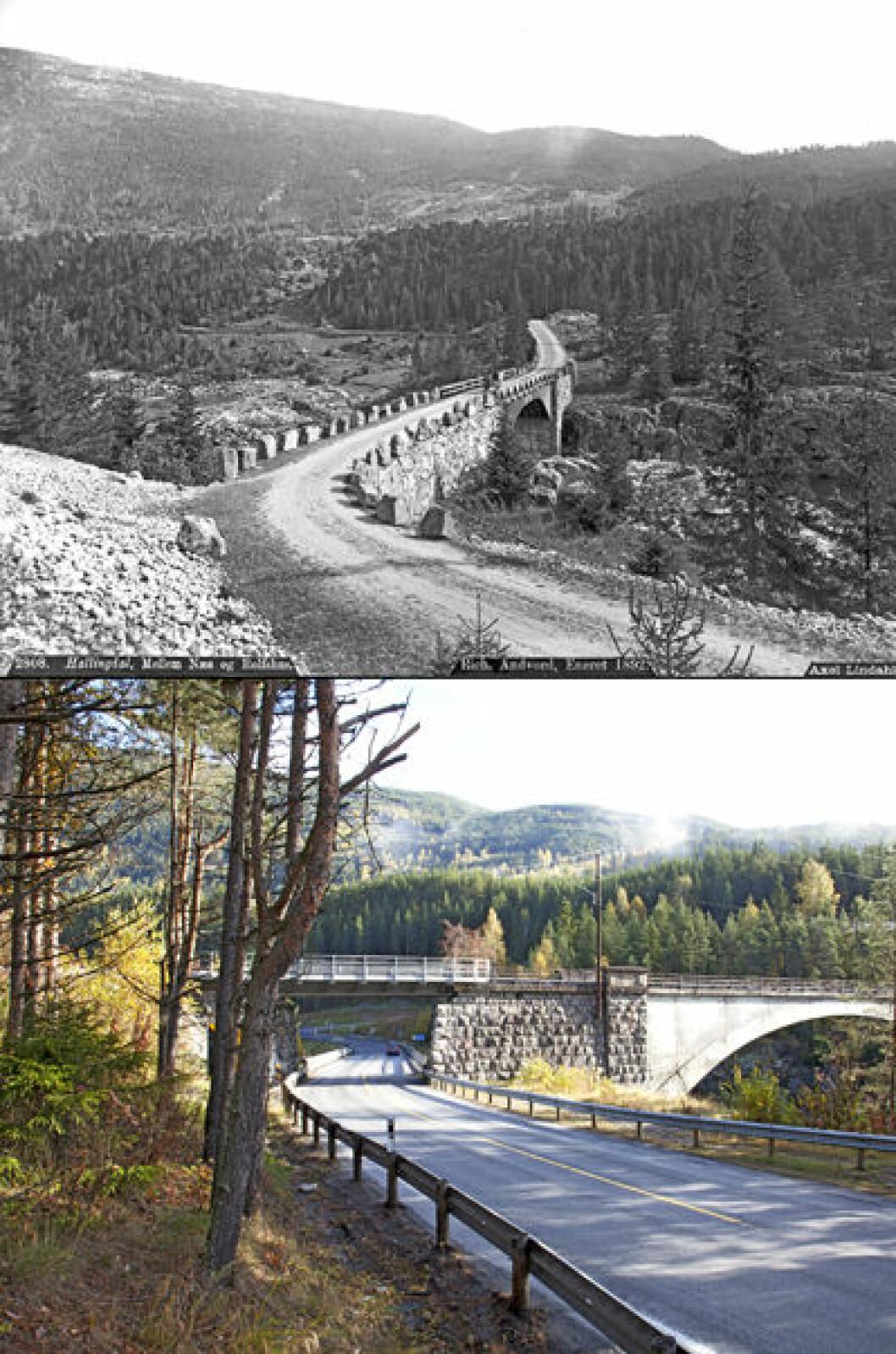 1890 og 2013: Svenkerud bro i Nes i Hallingdal, Buskerud. Foto: Axel Lindahl/Oscar Puschmann