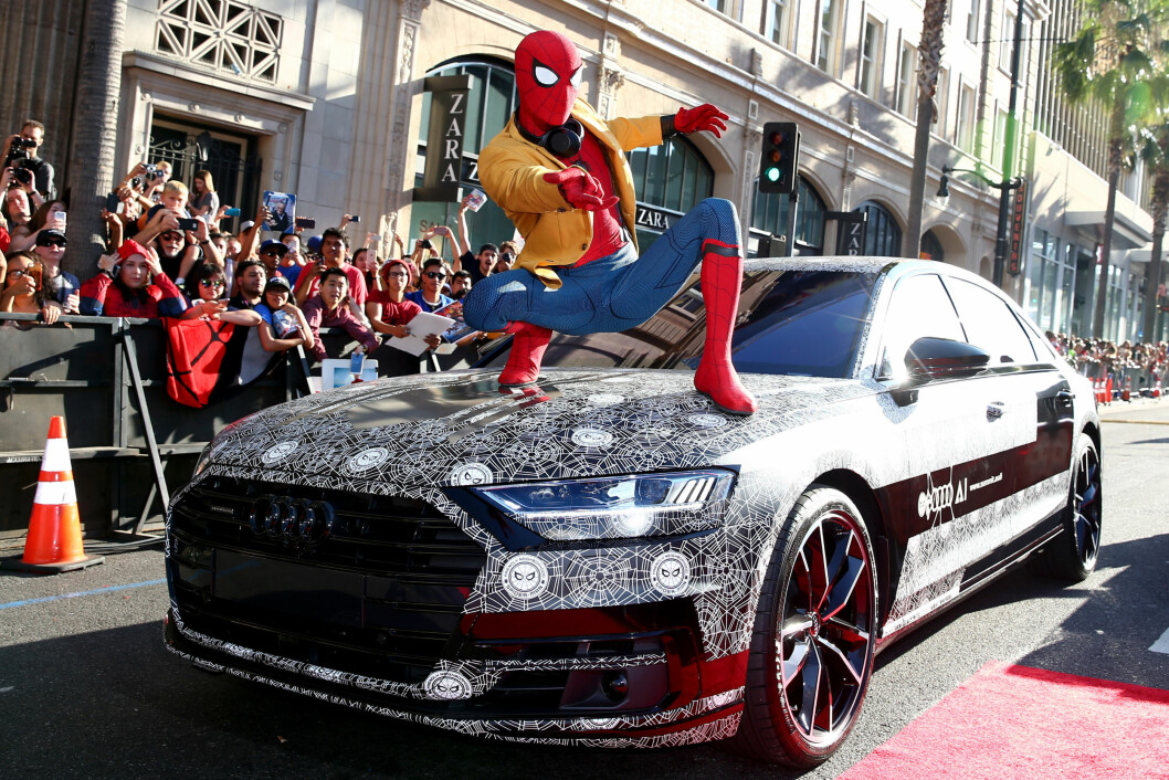 RINGENES HERRE: Nye Audi A8 ble vist første gang i forbindelse med den nye Spiderman-filmen. TIl Norge kommer bilen i september. Foto: Produsenten