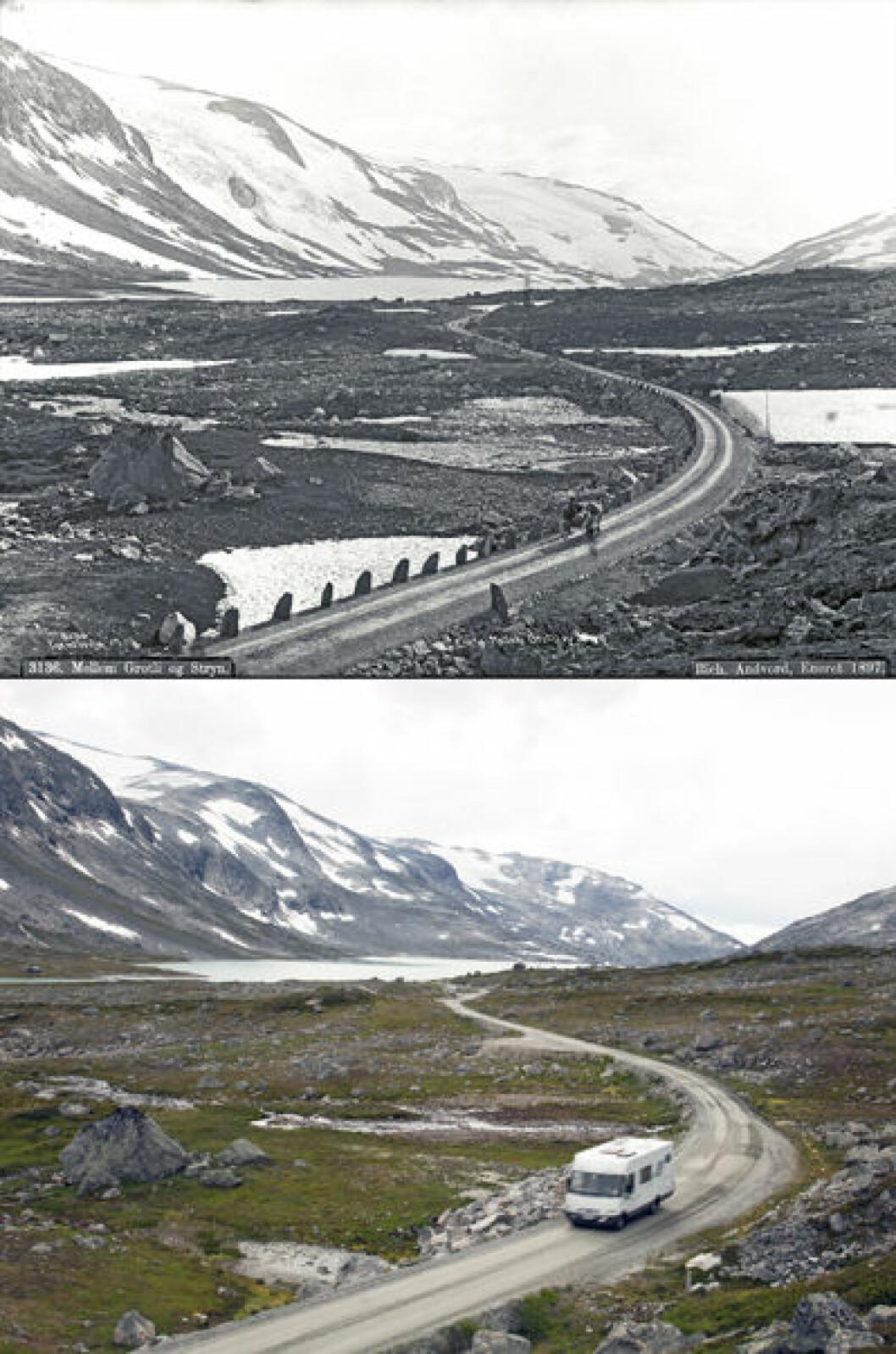 1896 og 2014: Gamleveien mellom Stryn og Grotli, i Skjåk i Oppland. Foto: Axel Lindahl/Oscar Puschmann