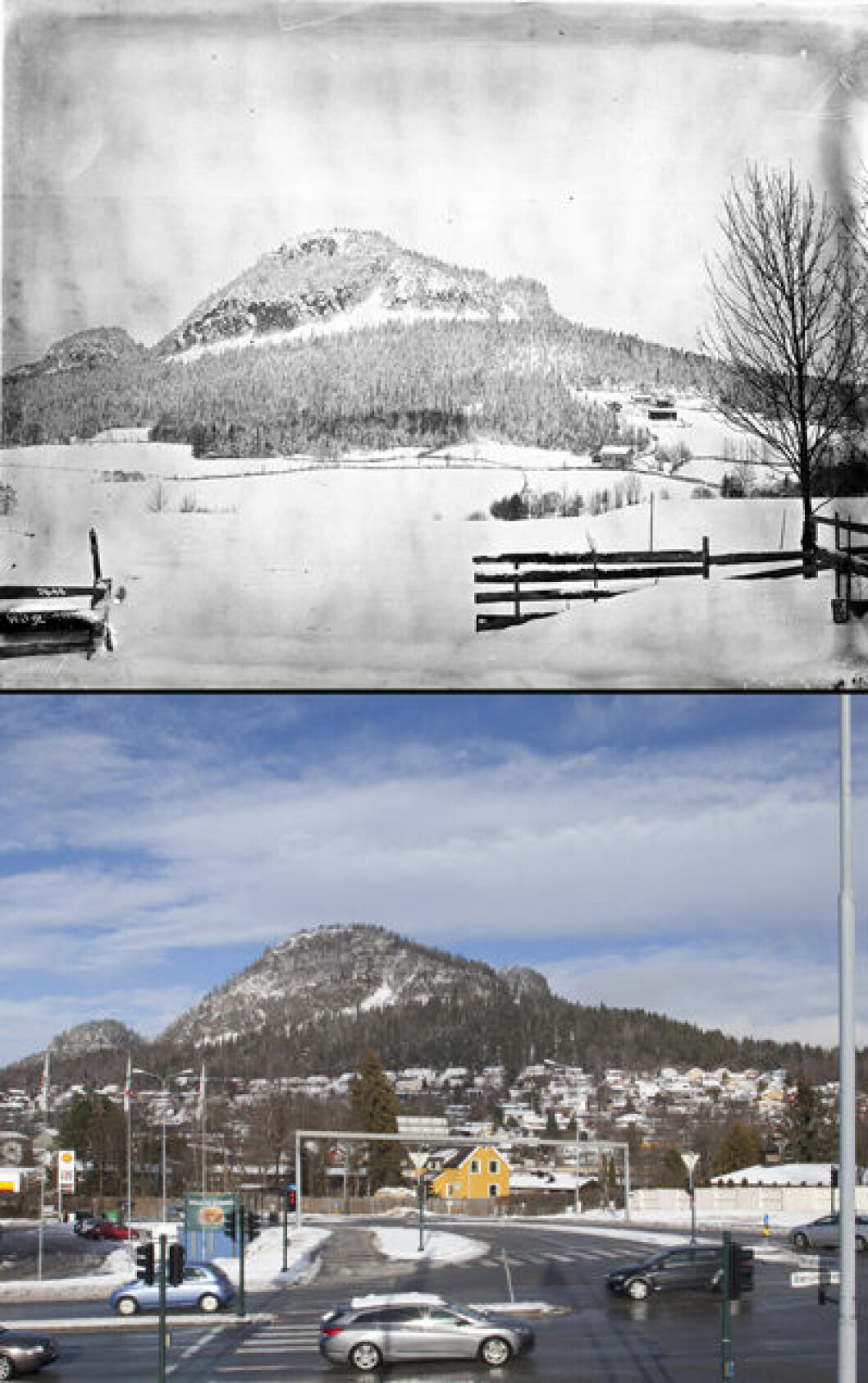 1904 og 2016: Kolsåstoppen i Bærum, Akershus.Foto: Anders Beer Wilse/Oscar Puschmann
