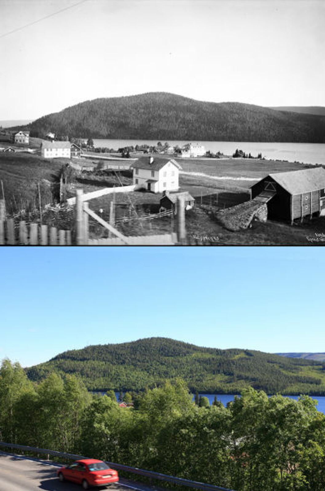 1910 og 2010: Fra Heggenes i Øystre-Slidre, Oppland.Foto: Anders Beer Wilse/Oscar Puschmann