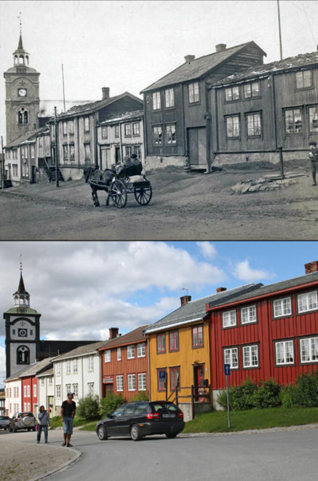 1914 og 2013:Fra Kjerkgata i Røros, Sør-Trøndelag.Foto: Anders Beer Wilse/Oscar Puschmann