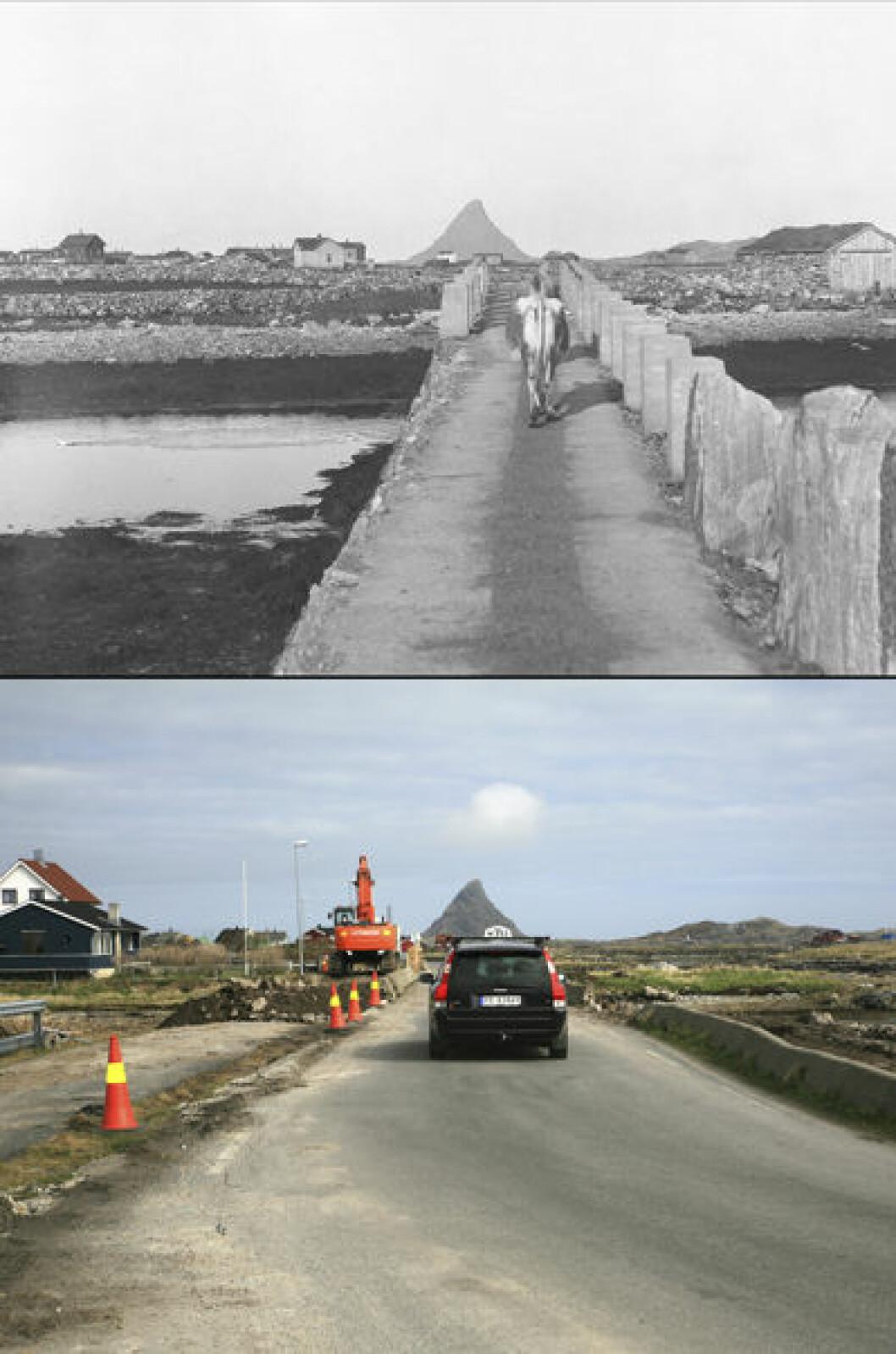 1930 og 2010: Utsikt fra Kalvøya på Røstlandet, Røst i Nordland.Foto: Anders Beer Wilse/Oscar Puschmann