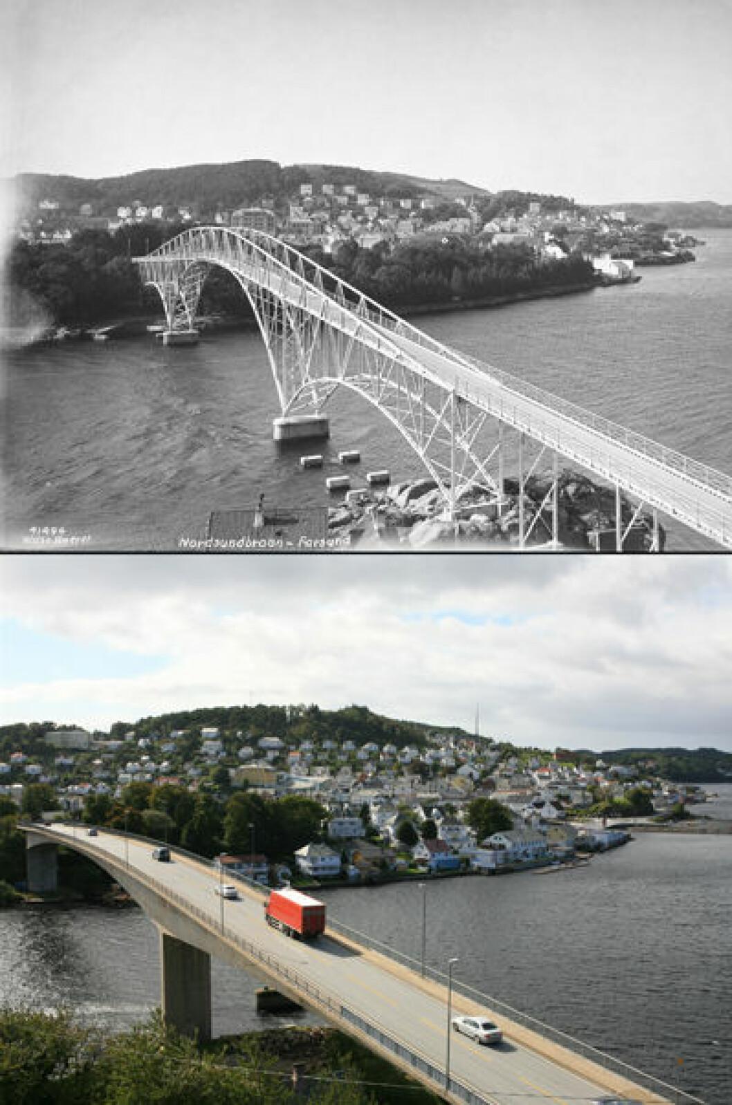 1934 og 2007:Nordsundbrua i Farsund, Vest-Agder. Foto: Anders Beer Wilse/Oscar Puschmann