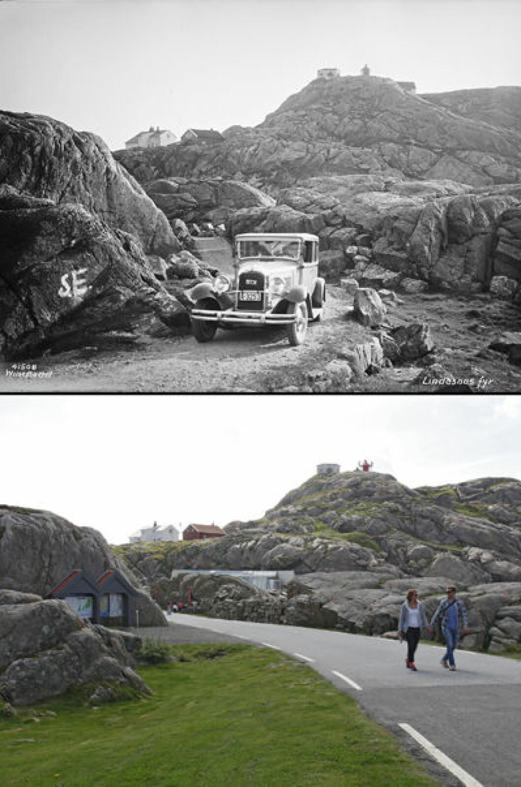 1934 og 2015: Lindesnes, Vest-Agder. Foto: Anders Beer Wilse/Oscar Puschmann