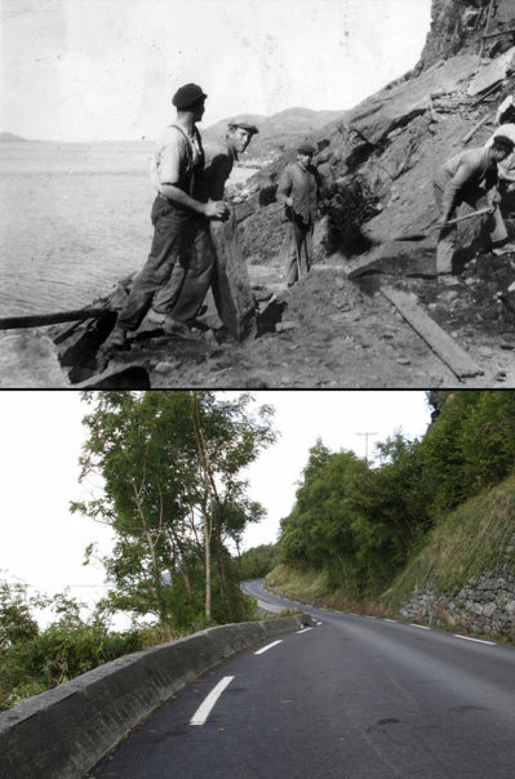 1935 og 2014: Daleveien på Rennesøy, Rogaland. Foto: Ukjent/Oscar Puschmann