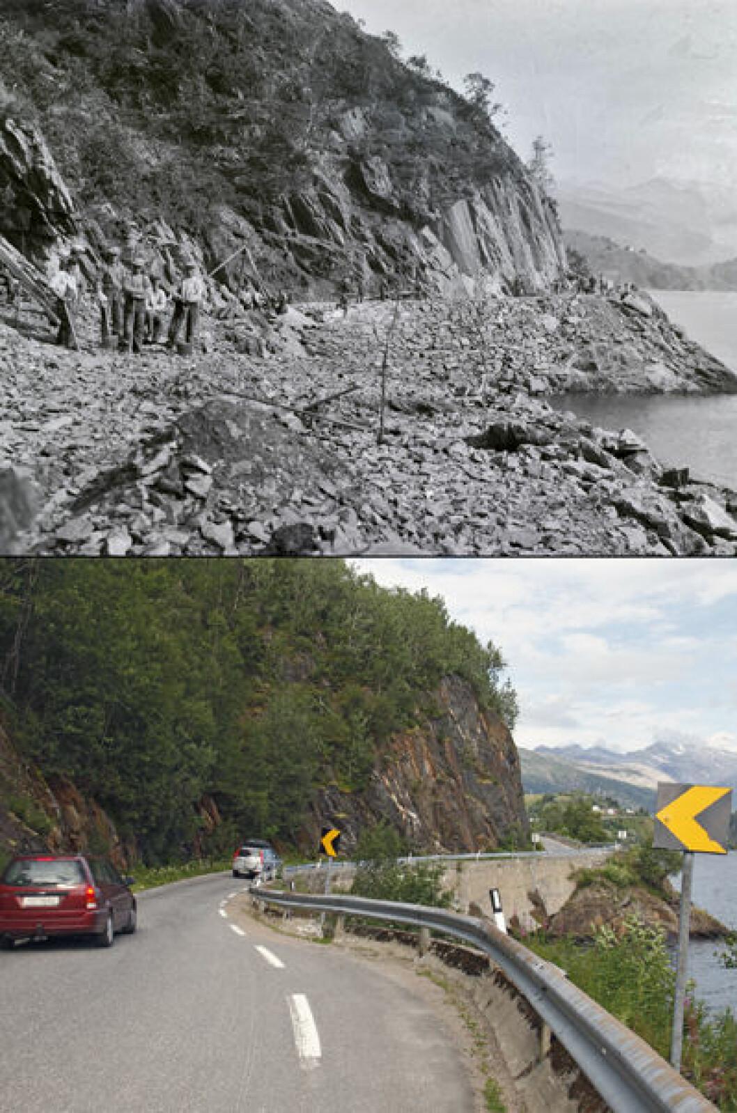 1937 og 2013: Tomashållo ved Engan i Sørfold, Nordland.Foto: Lyder Kvantoland/Oscar Puschmann