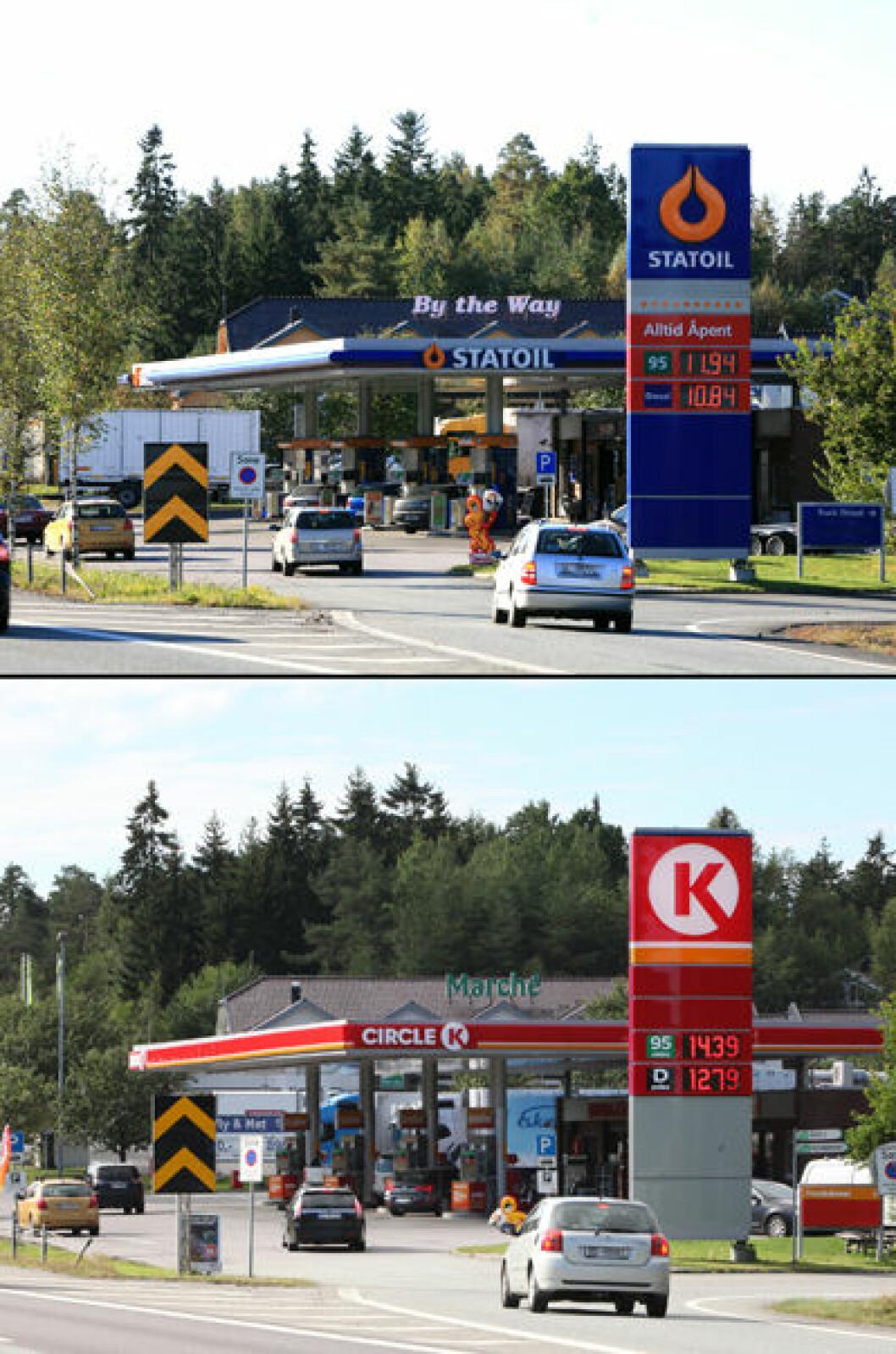 2007 og 2016: Bensinstasjon langs E6 ved Storebaug i Moss, Østfold. Begge foto: Oscar Puschmann
