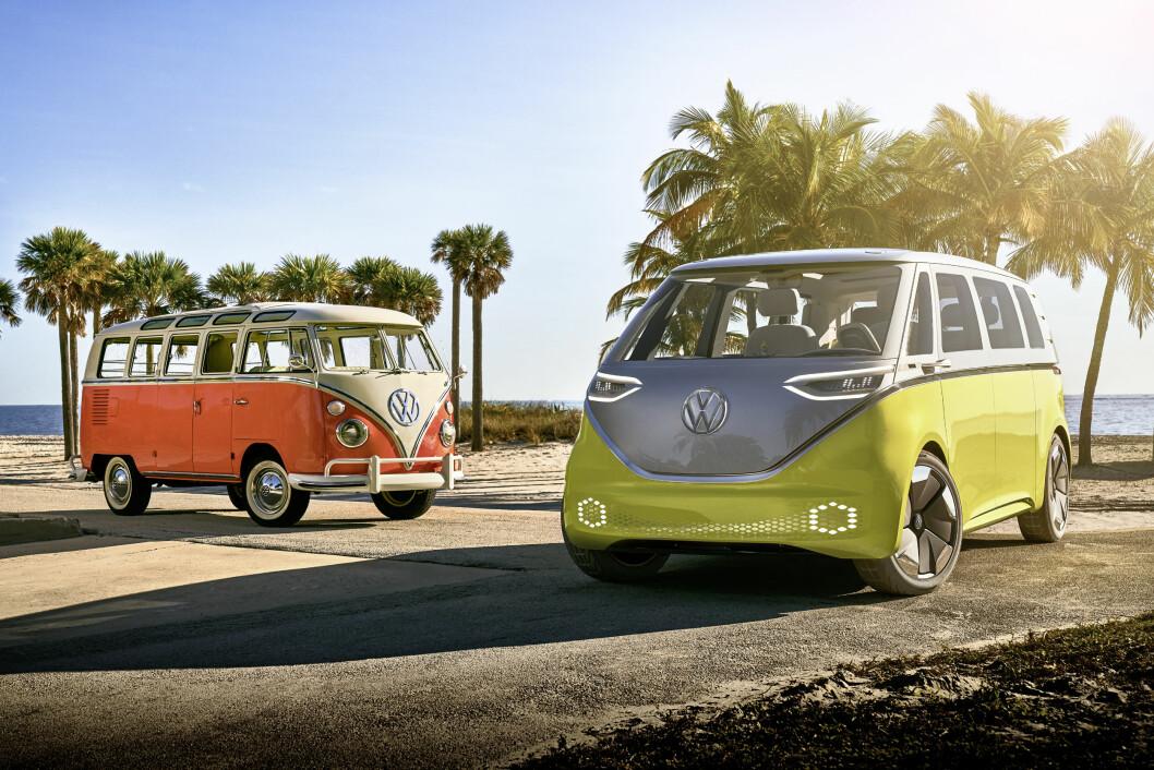 HIPPIE-BUSS: VW-ledelsen har gitt grønt lys for å starte produksjon av en elektrisk microbuss, som har klare designtrekk fra den såkalte hippie-bussen fabrikken bygde på 60-tallet.