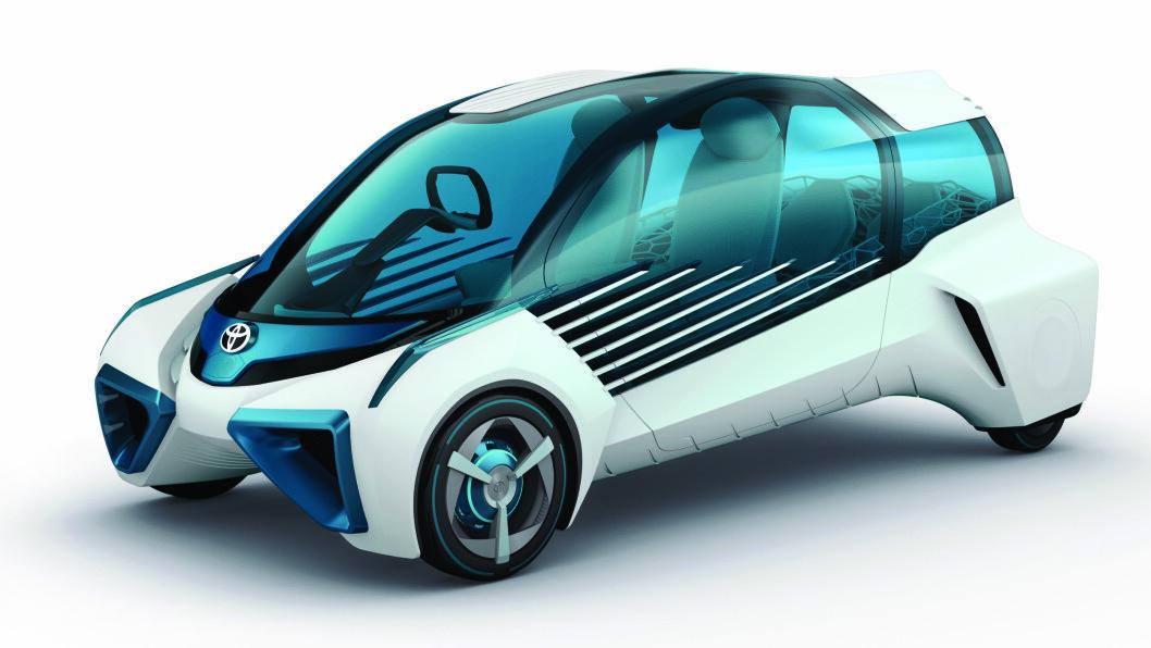 NULL UTSLIPP: Denne designstudien viser Toyotas tanker om en framtidig null-utslipp bil. Den var opprinnelig tenkt kjørt på hydrogen, men kan bli elektrisk.